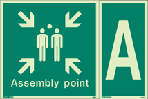 4128Q & 4871G - Jalite Assembly Point Fire Safety Sign