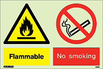 7428DD - Jalite Warning Flammable No Smoking Sign