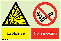 7433DD - Jalite Warning Explosive No Smoking Sign