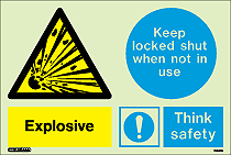 7435DD - Jalite Warning Explosive Keep Locked Shut When not in Use Sign